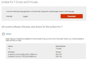 Surface Pro 7 Drivers Firmware 2021 Latest Version